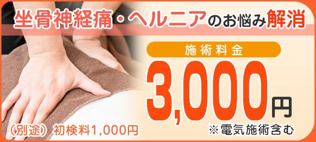 施術料金3000円